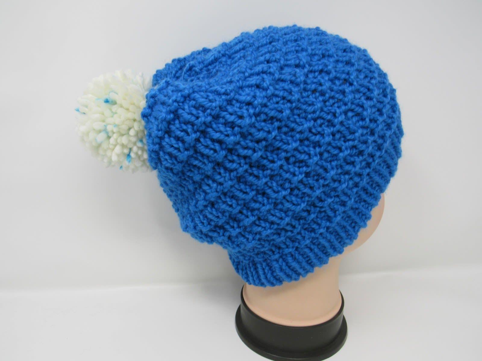 Handcrafted Knitted Hat Beanie Blue Alpaca/Merino Pom Pom Female Adult