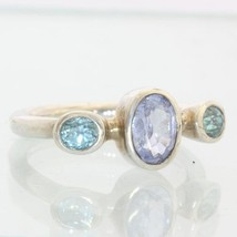 Blue Lavender Spinel and Blue Zircon Handmade Sterling Ladies Ring size ... - £87.92 GBP