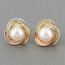 "Dainty JCM 14K Tri-Color Gold Cultured Pearl 3/8"" Love Knot Stud Earring... - $39.99"