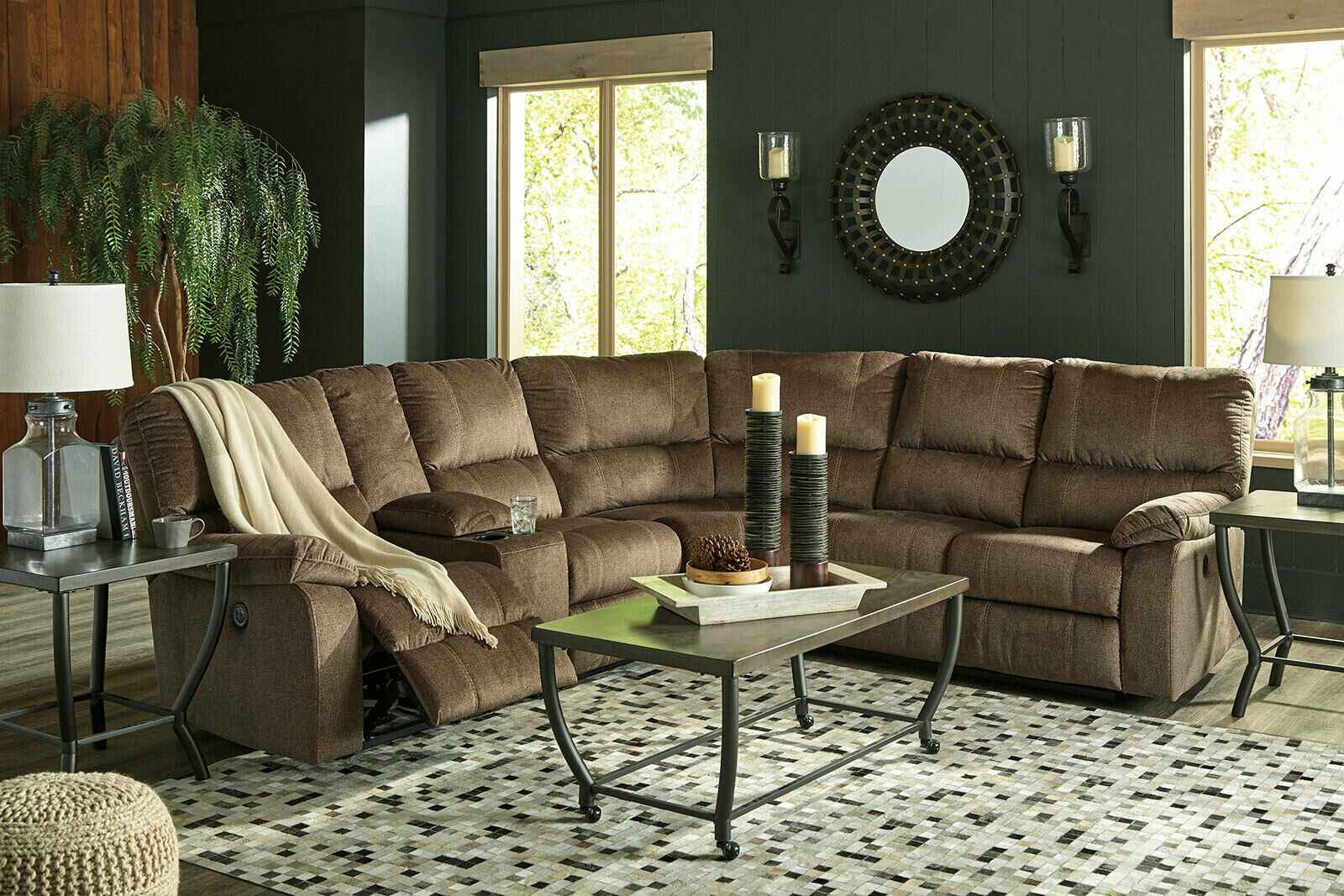 Modern living room sectional brown fabric reclining sofa - Fabric reclining living room sets ...