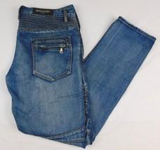Balmain Paris Blue Denim Jeans Biker W 39 L 36 Distressed Quilted Yoke W... - $599.99