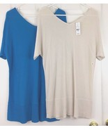 TWO Tunic Sweater Knit Tops Lightweight VNeck Rayon 1 Blue 1 Cream Size ... - $39.55