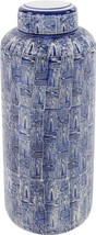 Howard Elliott Jar Vase Asian Large White Indigo Blue Black - $149.00