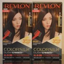2 Revlon 30 20N Brown Black Ammonia Free Vivid Hair Color Colorsilk Buttercream - $20.78