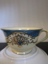 NORITAKE JAPAN Tea Cup & Saucer BLUE & YELLOW BANDED w Gold Floral Urn P... - $14.84