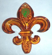 Waterford Fleur de Lys Ornament Amber Crystal with Jeweled Enhancer New in Box - $36.90