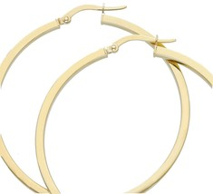 18K YELLOW GOLD CIRCLE EARRINGS DIAMETER 40 MM WITH SQUARE TUBE, MADE IN ITALY image 1