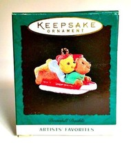 Hallmark Keepsake Ornament Artists Favorites 1995 Downhill Double 1 inch... - $3.86