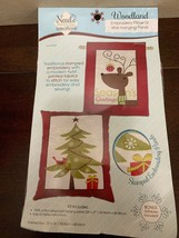 Needle Creations Woodland Embroidery Pillow or Wall Hanging Christmas design - $8.91