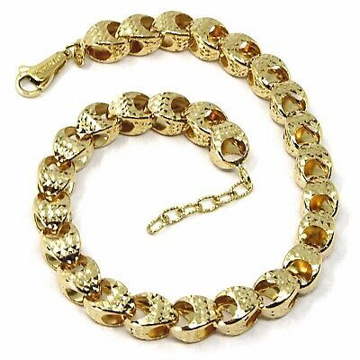 18K YELLOW GOLD BRACELET, BIG ROUNDED DIAMOND CUT OVAL DROPS 6 MM, ROUNDED