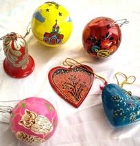 Christmas tree decoration ornaments 6pc pack paper mache balls bells he... - $49.78