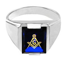 Freemason Blue CZ Square and Compass Silver Masonic Mens Ring - £35.86 GBP