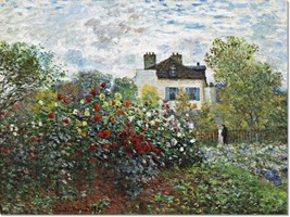 Stretched Canvas - Artists Garden Argenteuil Painting Claude Monet Repro... - $104.99+