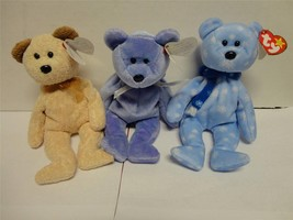 TY Beanie Baby Bears Huggy 2000 Clubby II 1999 and Holiday Teddy 1999 Lo... - $14.85
