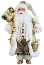 """Windy Hill Collection 16"""" Inch Standing Cream Checkered Santa Claus Chri... - $43.88"""