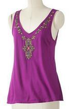Elle Embellished Mosaic Bead Grape Juice Purple Sleeveless Tank Top S Sm... - $24.99