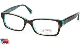New Coach Hc 6040 Brooklyn 5116 Dark Tort/Teal Eyeglasses Frame 50-16-135 B30 - $77.17