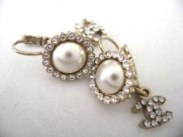 Authentic Chanel CC Logo Pearl W/ Crystal Simple Dangle Hook Earrings image 2