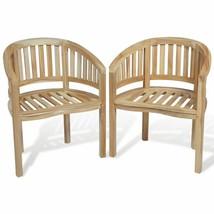 vidaXL 2x Teak Wood Chair Banana Shape Seating Wooden Garden Furniture P... - $198.99