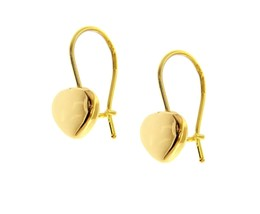 """18K YELLOW GOLD PENDANT HOOK ROUNDED 8mm HEARTS EARRINGS LENGTH 20mm 0.8"""" image 1"""