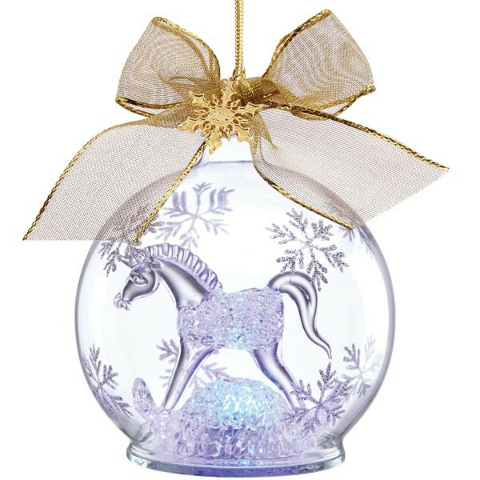 Lenox 2014 Baby's First Christmas Ornament 1st Crystal Rocking Horse Lighted NEW
