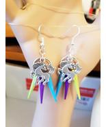 Silver unicorn horse chandelier earrings spike dangle drops multi color ... - $5.99