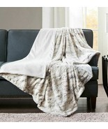 Madison Park Sachi Natural Grey Marble Faux Fur Plush Throw Blanket 60 x... - $45.53