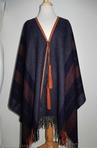 Hermes Poncho Rocabar Leather Pompons Tassels New - $1,698.00