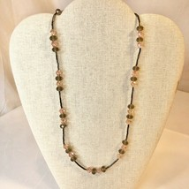 Handcrafted Beaded Necklace Brown & Pink Crystal Beads Simple Long Jewelry NEW - $34.65