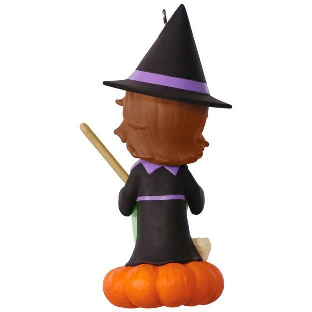 Sweet Trick-or-Treater Witch 2017 Hallmark Halloween Ornament  Pumpkin Black Cat