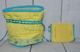Carleen Moira Powell For Silvestri Womens Yellow Blue Fabric Pouch & Coi... - $19.79