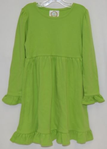 Blanks Boutique Long Sleeve Empire Waist Lime Green Ruffle Dress Size 4T