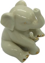 "Lenox Porcelain Elephant Figurine 24K Gold AccentsTrunk Up 3"" Tall - $19.99"