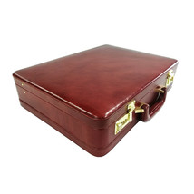Genuine Leather Attache Business Handbag Leather Briefcase 1Inch Expanda... - $153.20