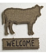 """Farm House Burlap-Wrapped Wood Cow """"Welcome"""" Sign Decor - $19.99"""