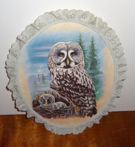 Vintage Owl Picture Wood Lace Baby Owls Owlest Nest Mother White Gray - $31.56