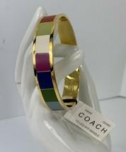 New Coach Bracelet Legacy Multi Stripe Bangle 94060 Gold Red White Blue Green J1 - $78.39