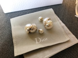 AUTH Christian Dior LIMITED EDITION MISE EN DIOR HALF PEARL EARRINGS  image 4