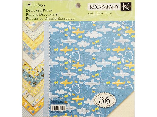 K&Company Itsy Bitsy Baby Boy Designer Paper Pad 8.5x8.5 Inches #623170
