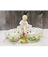 Vintage Porcelain Pierced Lattice Candy Bowls Putti Cherub Child Roses F... - $47.52