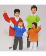 Dressed Doll Family of 4 Caco 3103 Wigged Flexible Dollhouse Miniature  - $100.61