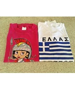 Girl's Lot Of 2 Graphic T Shirts ( One Is Unisex) From Greece ( Size 4 ) - $6.80