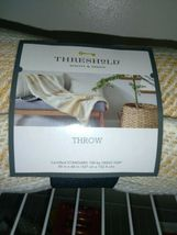 "Threshold 100% Cotton Woven Yellow Tan Cream Stripe Throw Blanket 50"" X 60"" New! image 3"