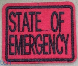 State of Emergency Funny Patch Size 2 1/4 x 2 inches. Shipped from USA