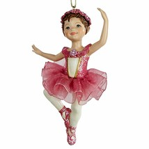 "KURT ADLER 4.25"" BRUNETTE BALLET GIRL BALLERINA w/ RED TUTU CHRISTMAS OR... - $10.88"