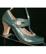 Steve Madden green leather scrunch button mary jane stacked cuban heel 6.5 - $32.37