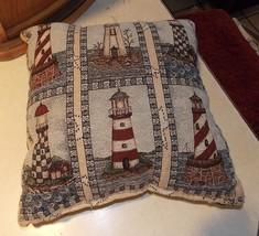 Blue Beige Lighthouse Print Decorative Pillow  17 x 17 - $34.95