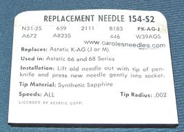 PHONOGRAPH RECORD PLAYER NEEDLE 154-S2 for Astatic N31-1D J K M X A67 N31-2s image 3