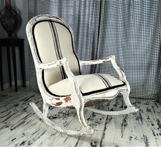 Vintage White Farmhouse Style Upholstered Rocking Chair - $497.00
