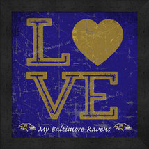 "Baltimore Ravens 13x13 ""LOVE My NFL Team"" Color Textured Framed Print  - $39.95"